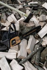 chainsaw and axe